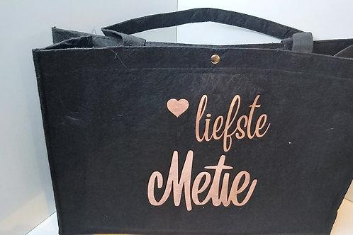 Vilten Tas met hengsels 'Liefste Metie'