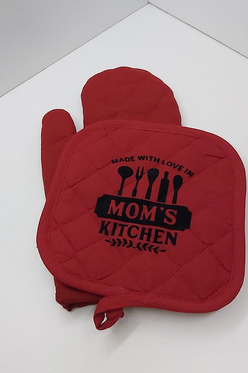 Ovenwant set met tekst: made with love in MOM'S kitchen