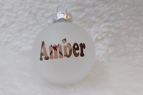 Gekleurde Kerstbal met naam en/of tekst naar keuze