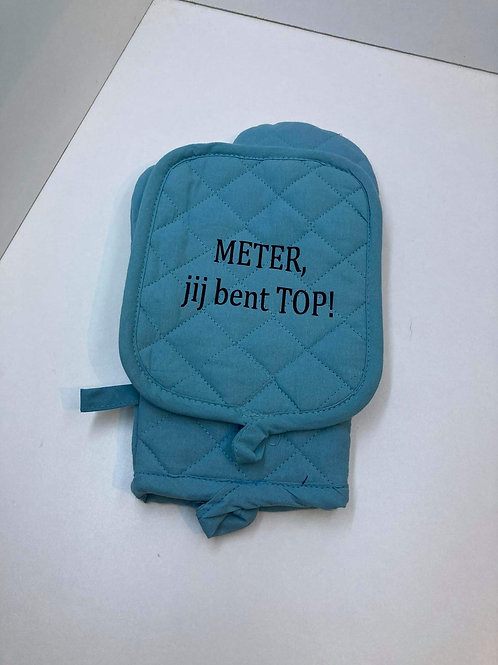 Ovenwant set met tekst: METER jij bent TOP!