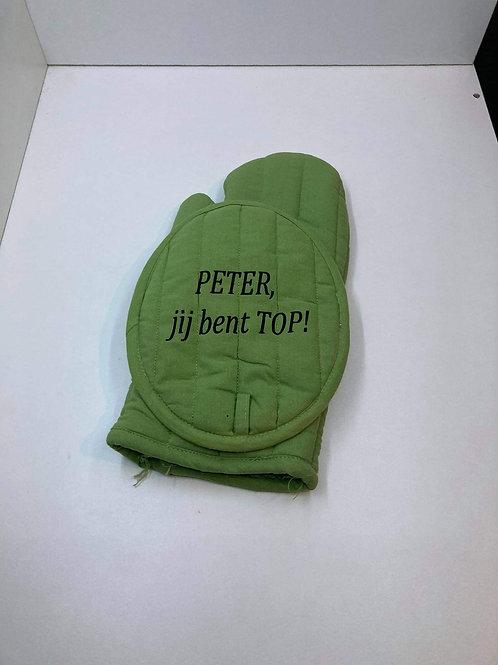 Ovenwant set met tekst: PETER jij bent TOP!