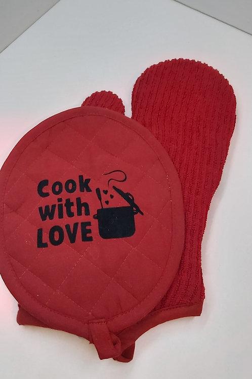 Ovenwant set met tekst: Cook with love