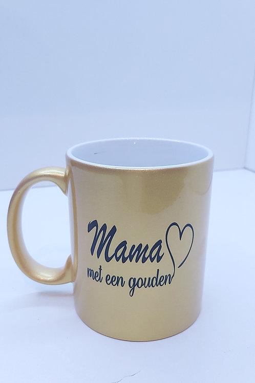 Gouden Mok met tekst : Mama met een gouden hart