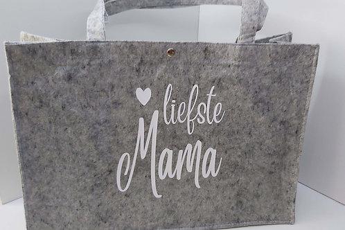 Vilten Tas met hengsels 'Liefste Mama'