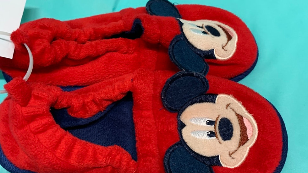 Little kids size 11, Mickey Mouse slippers red