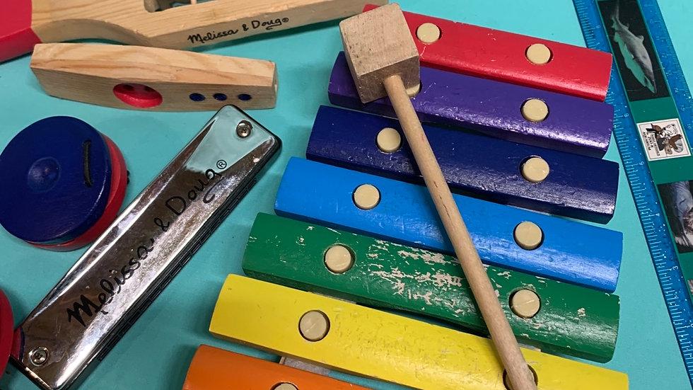 Melissa and Doug wooden six piece instrument set