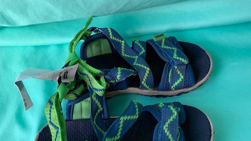 Little kid size 10, Carter's green blue water shoe