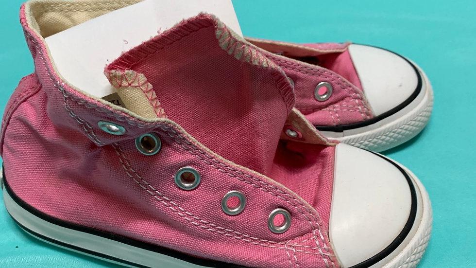 Little kid size 8, pink high top converse