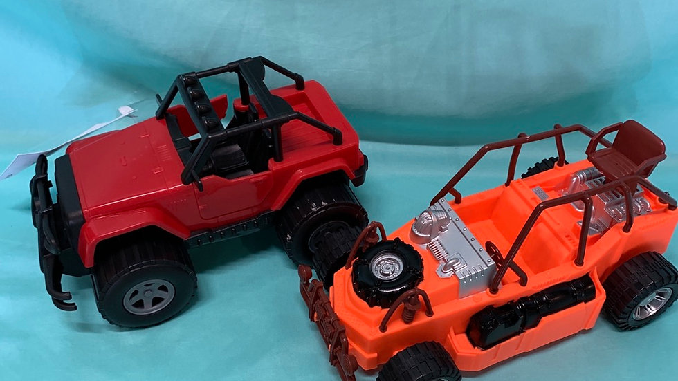 Two plastic jeep type car red, orange