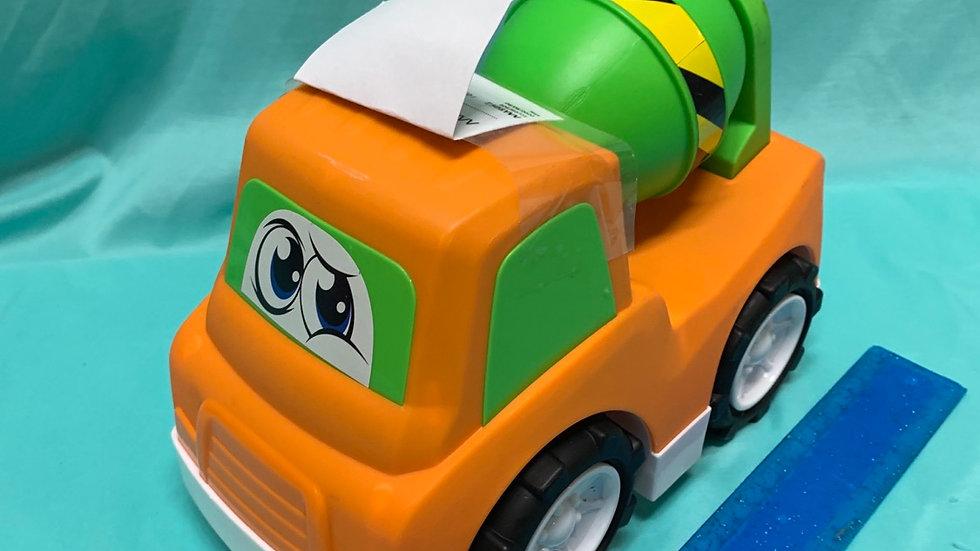 Big plastic cement truck, orange, green