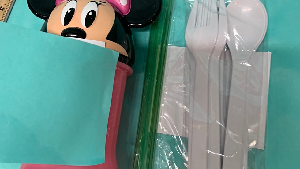 Minnie mouse travel cup, silverware white six piece