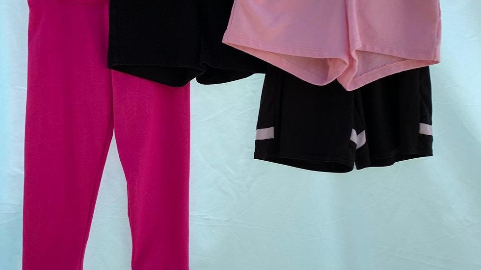 Size 6, pink yoga pants, three pair shorts