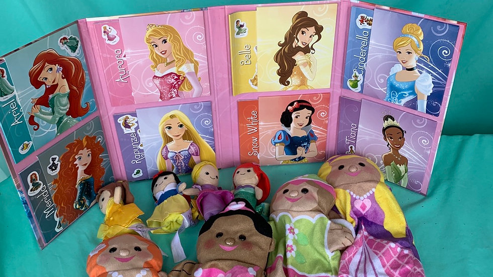 Disney take a long tails eight books, 4 princess puppets, 4 finger puppets