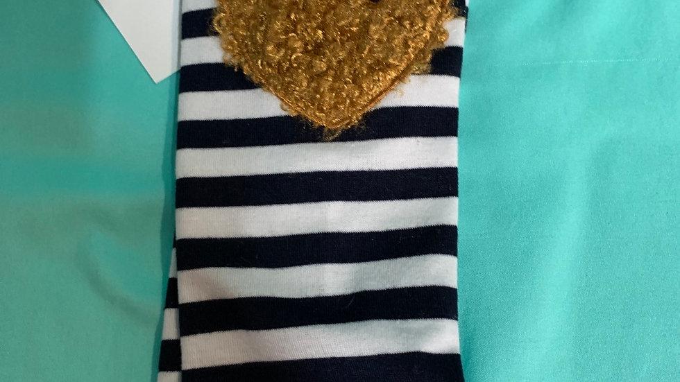Leg warmers, kneepads blue stripe with heart