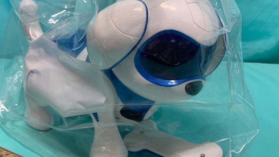 Robot dog white blue with a bone
