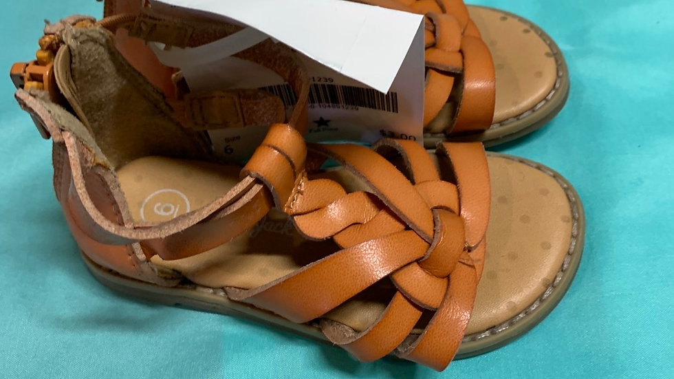 Little kid size 6, brown leather braided sandal