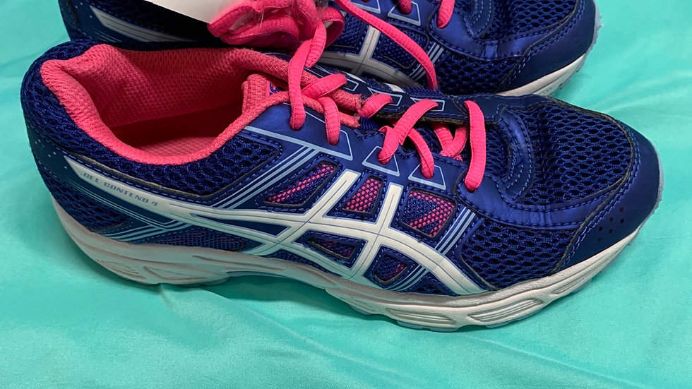 Big kid size 3.5, asics blue and pink