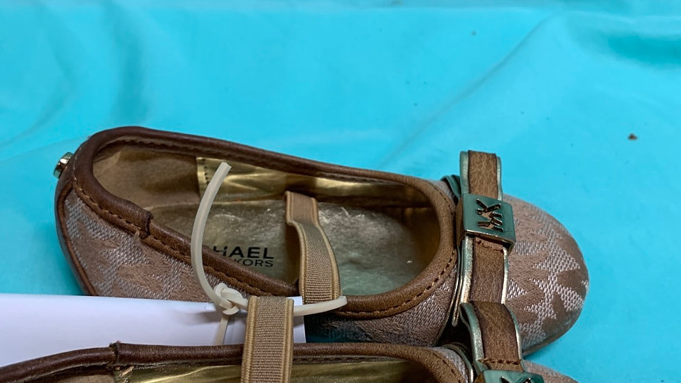 Little kid size 6, Michael Kors tan and gold flats