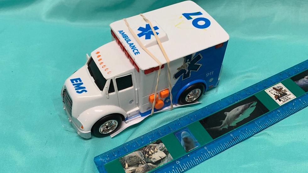 Blue white ambulance with sounds