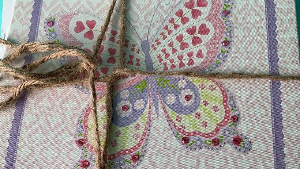 Two piece pink purple butterfly square canvas pictures