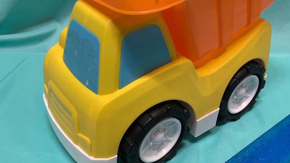 Plastic dump truck, yellow, orange