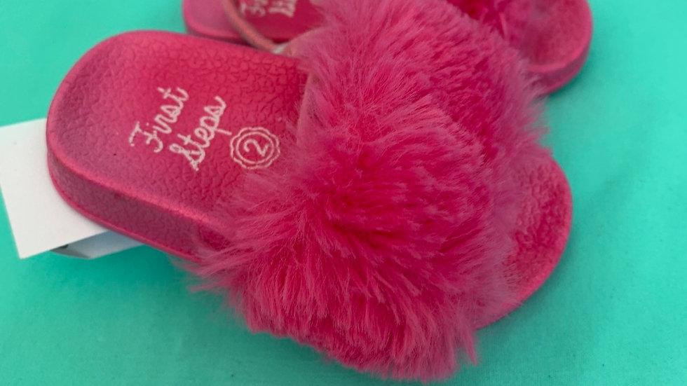 Little kid size 2, first step pink fuzzy slides