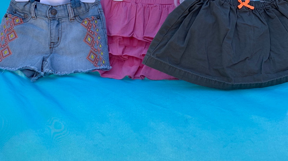 Size 2T, 2 skirts, 1 short three-piece