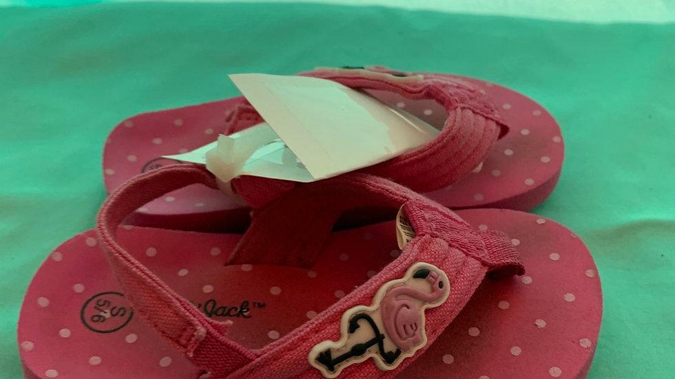 Little kid size 5, pink flamingo flip-flop