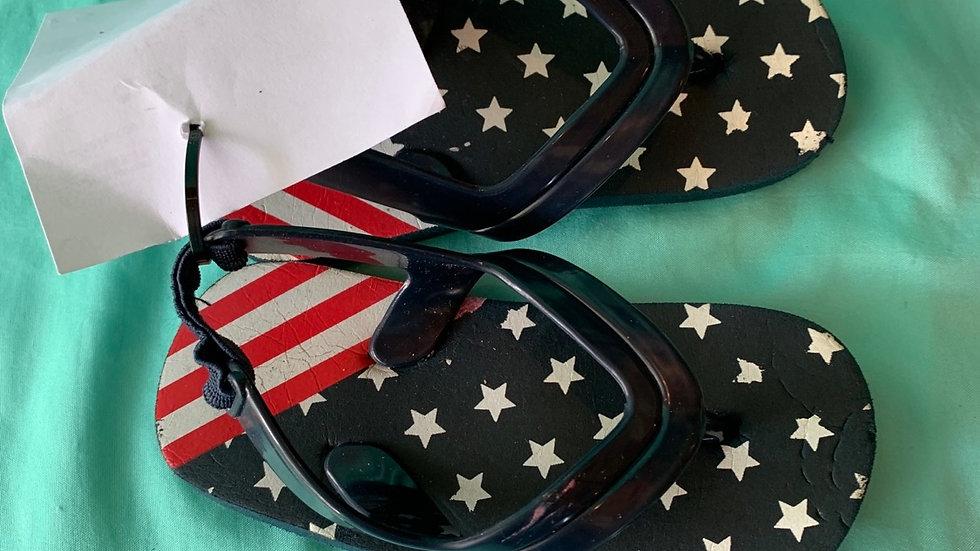 Little kid size 5, flag flip-flops