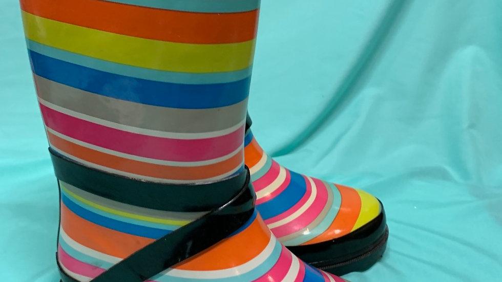Big kid size 2, multicolor rain boots