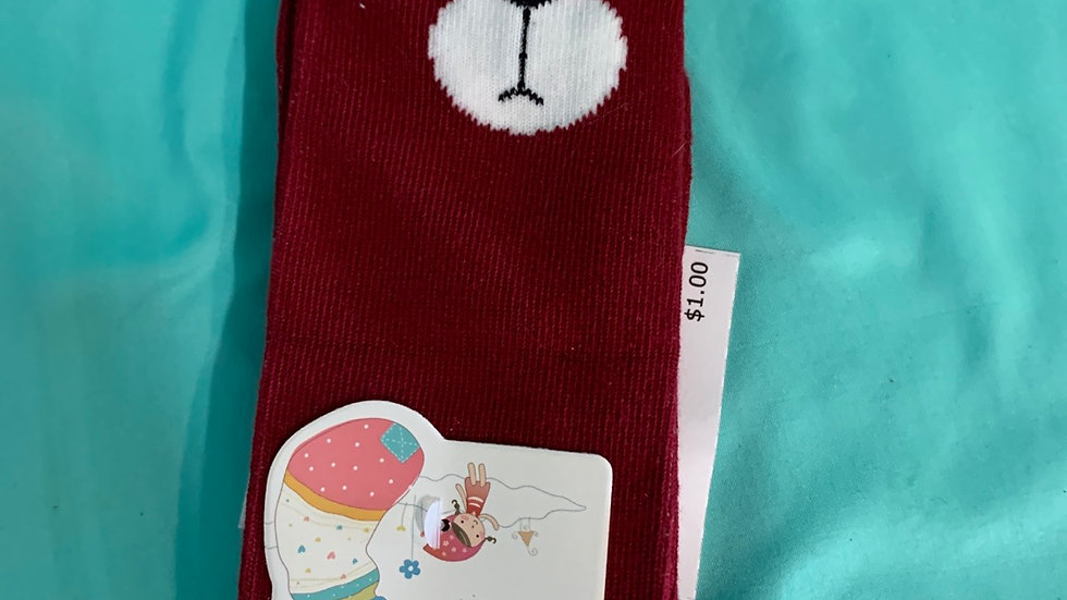 Red cat face, ears sock brand new  size 4-6