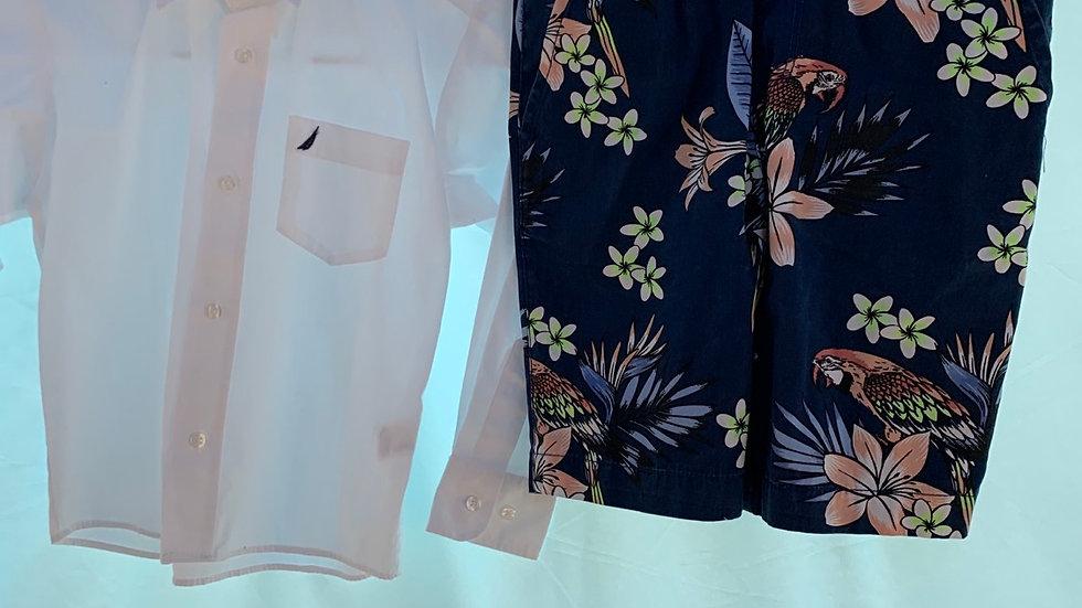 Size 7, two piece, long dress shirt shorts