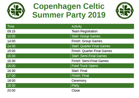 Copenhagen Celtic Summer Party 2019 - Schedule