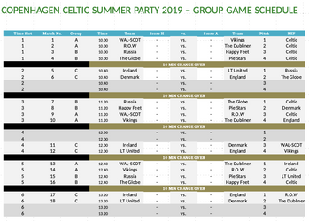 Copenhagen Celtic Summer Party 2019 - Group Games Schedule