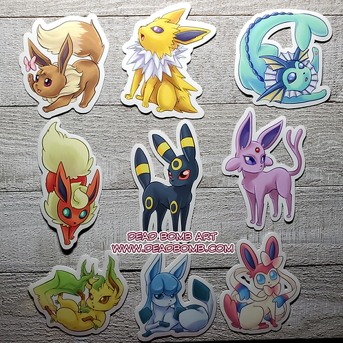 Eeevelution Vinyl Stickers - Set of 9