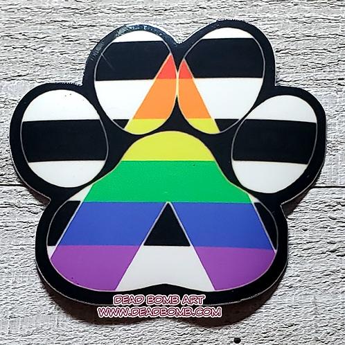 Pride Paw Vinyl Sticker - LGBTQ+ Ally