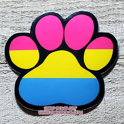 Pride Paw Vinyl Sticker - Pansexual