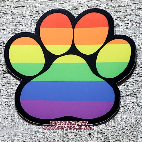 Pride Paw Vinyl Sticker - Rainbow Gay