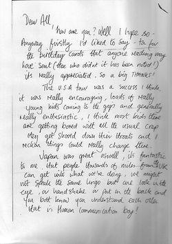 Paul Weller Letter 1982