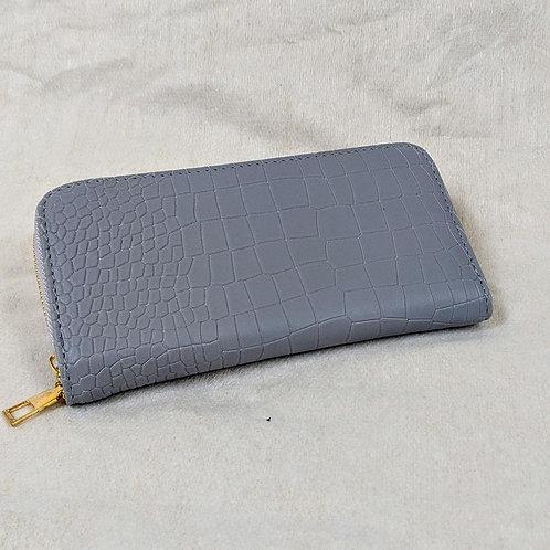 Dove Grey Mock Croc Faux Leather Purse