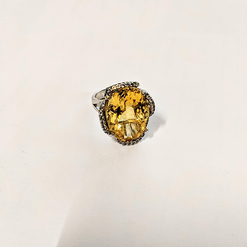 Citrine and Topaz Sterling Silver Ring