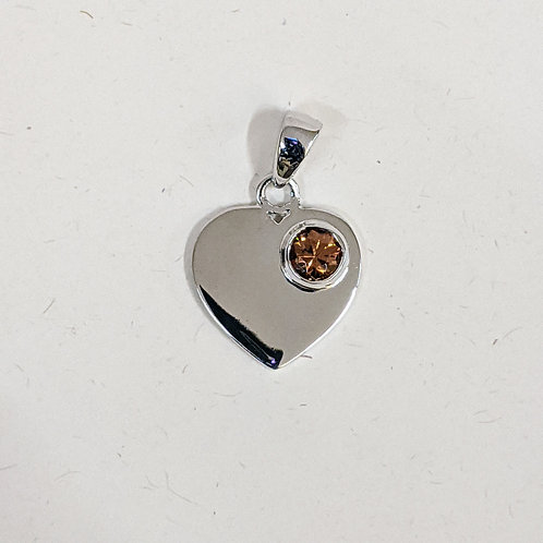 Sterling Silver Heart Pendant with Zircon