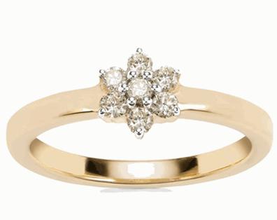 Natural Yellow Diamond Daisy 18ct Gold Ring