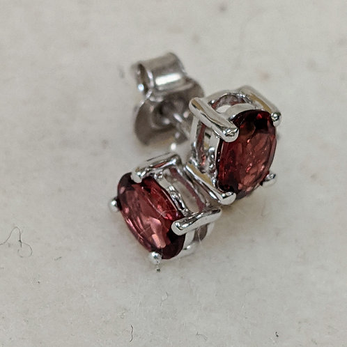 Red Garnet Sterling Silver Stud Earrings