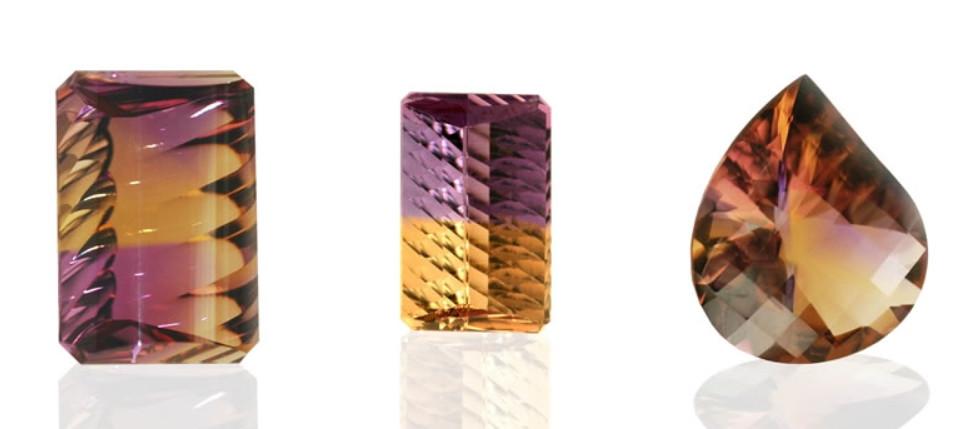3 ametrine faceted gemstones