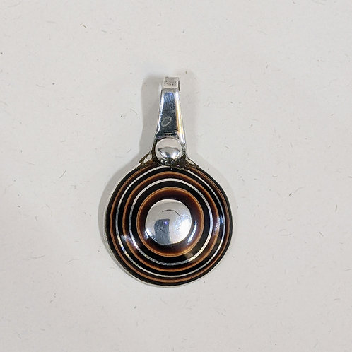 Moroccan Cedar Wood and Silver Disc Necklace