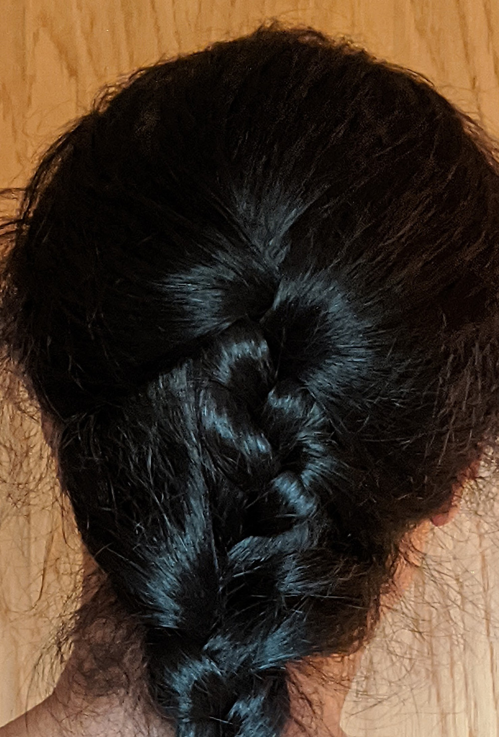 photo of the back of the head with black braid/plat