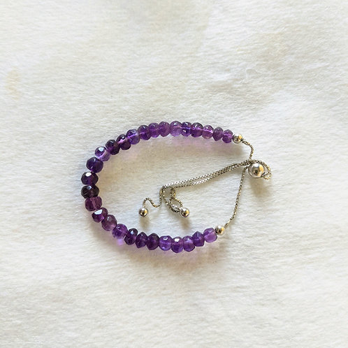 Amethyst Sterling Silver Slider Bracelet