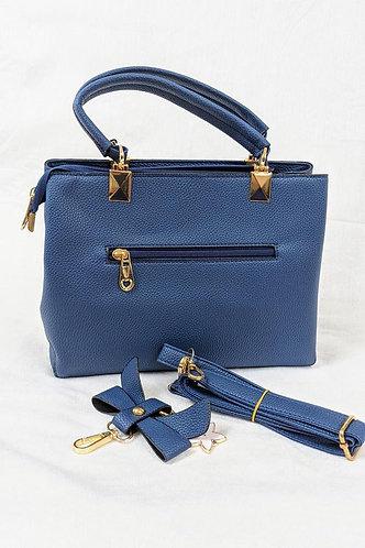 Blue Faux Leather Handbag