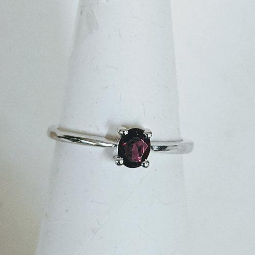 Red Garnet Oval Sterling Silver Ring
